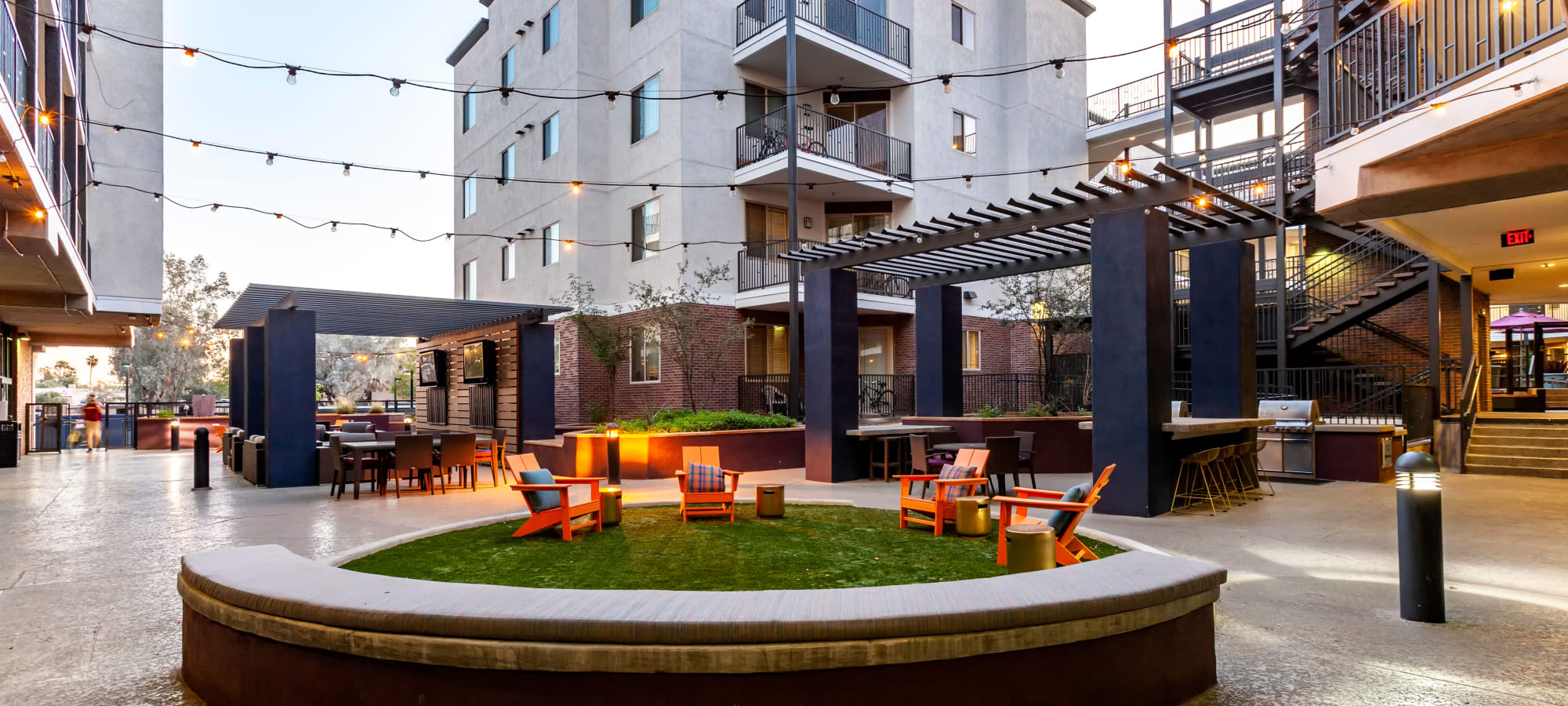 Outdoor firepit at The Fleetwood in Tempe, Arizona