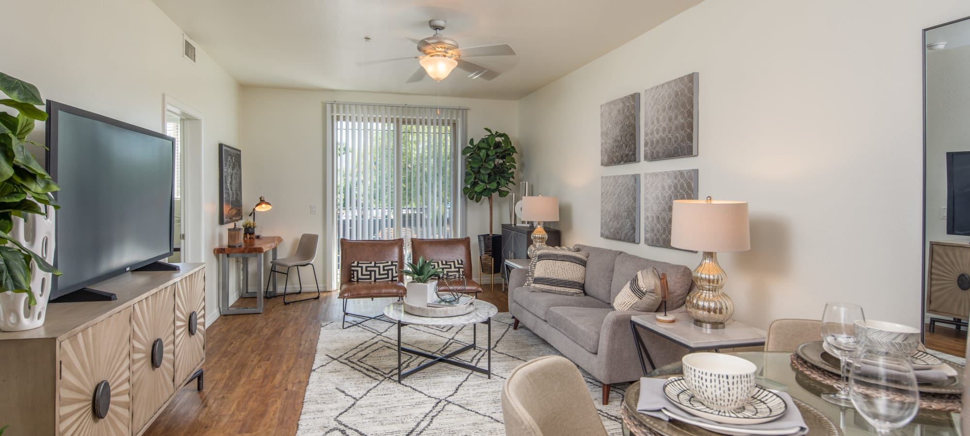 Bright living room at The Fleetwood in Tempe, Arizona