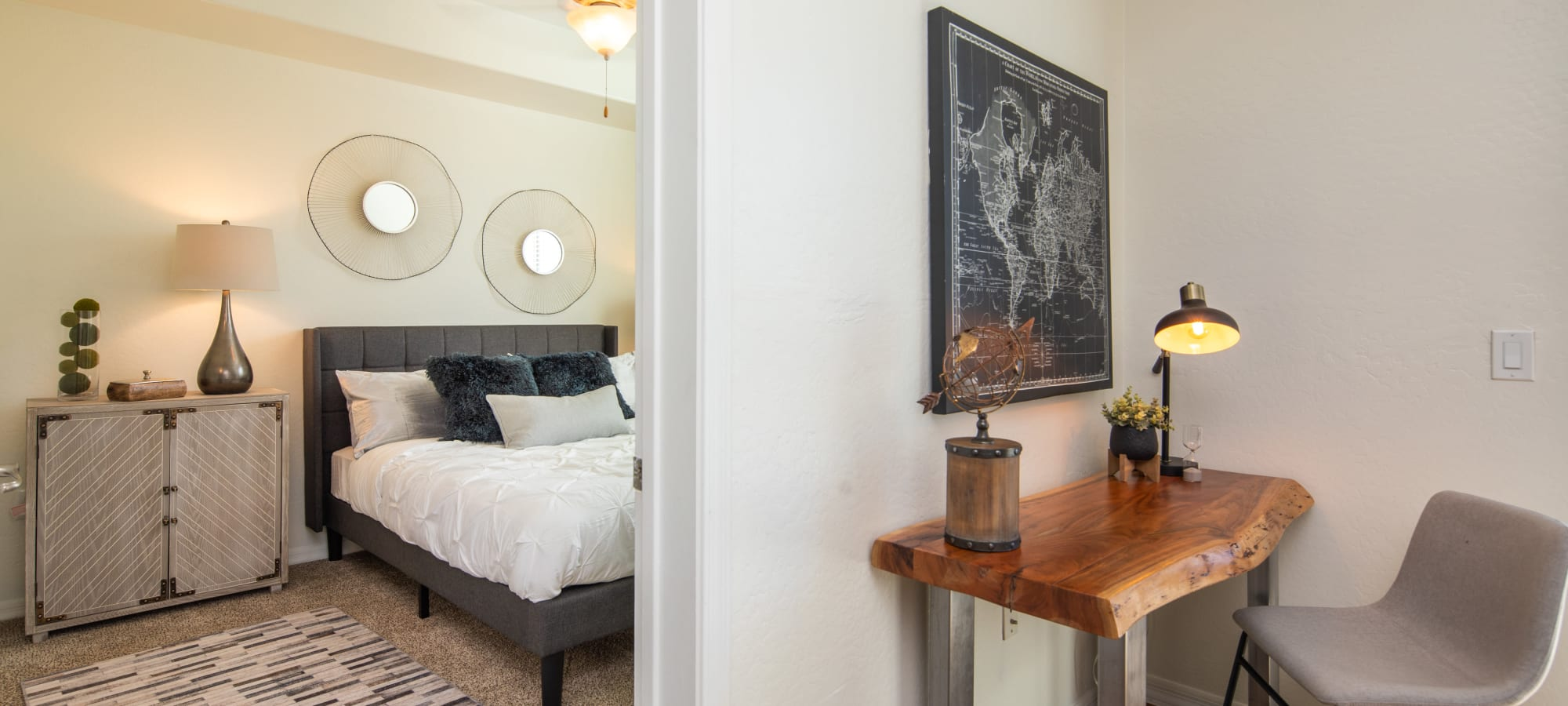 Bedroom and table at The Fleetwood in Tempe, Arizona