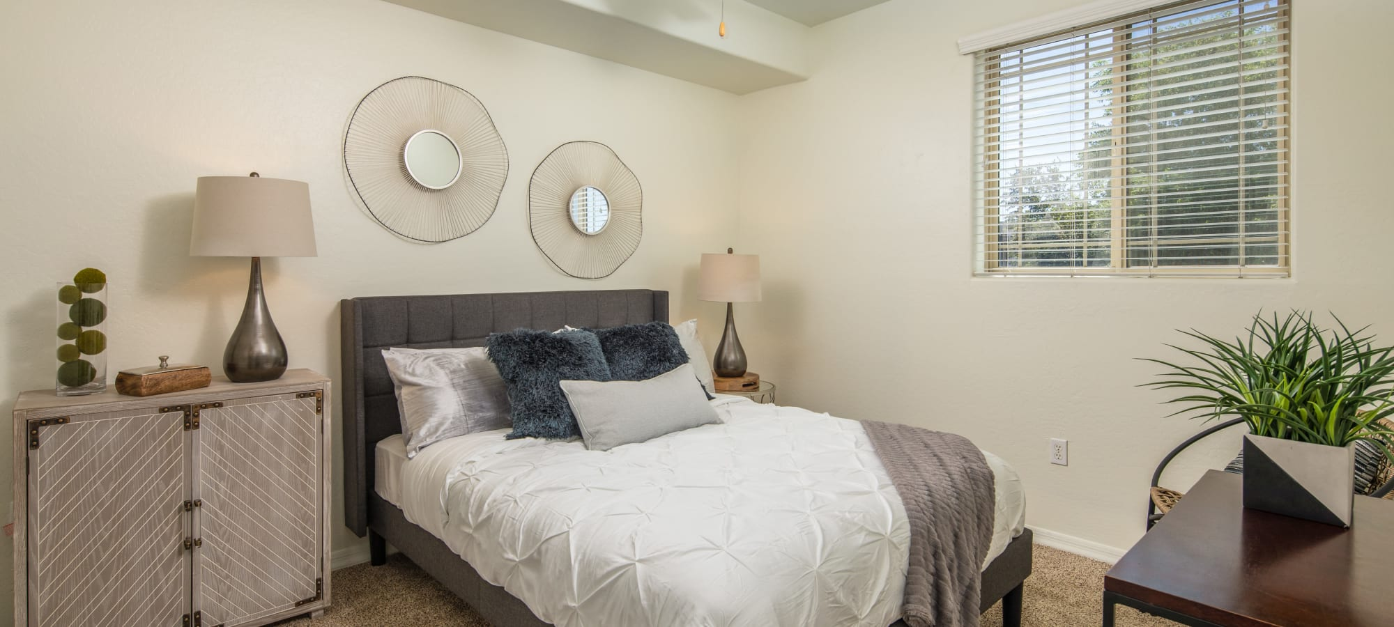 White bedroom at The Fleetwood in Tempe, Arizona