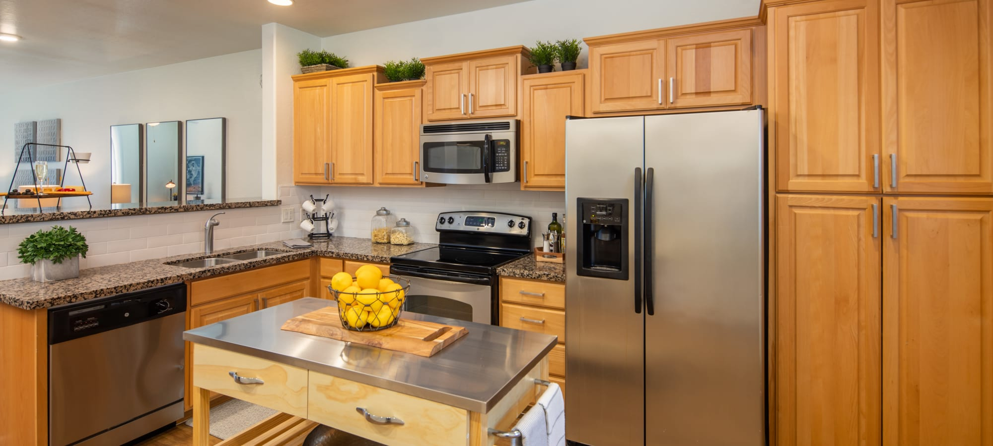 Kitchen with stainless steel appliances at The Fleetwood in Tempe, Arizona