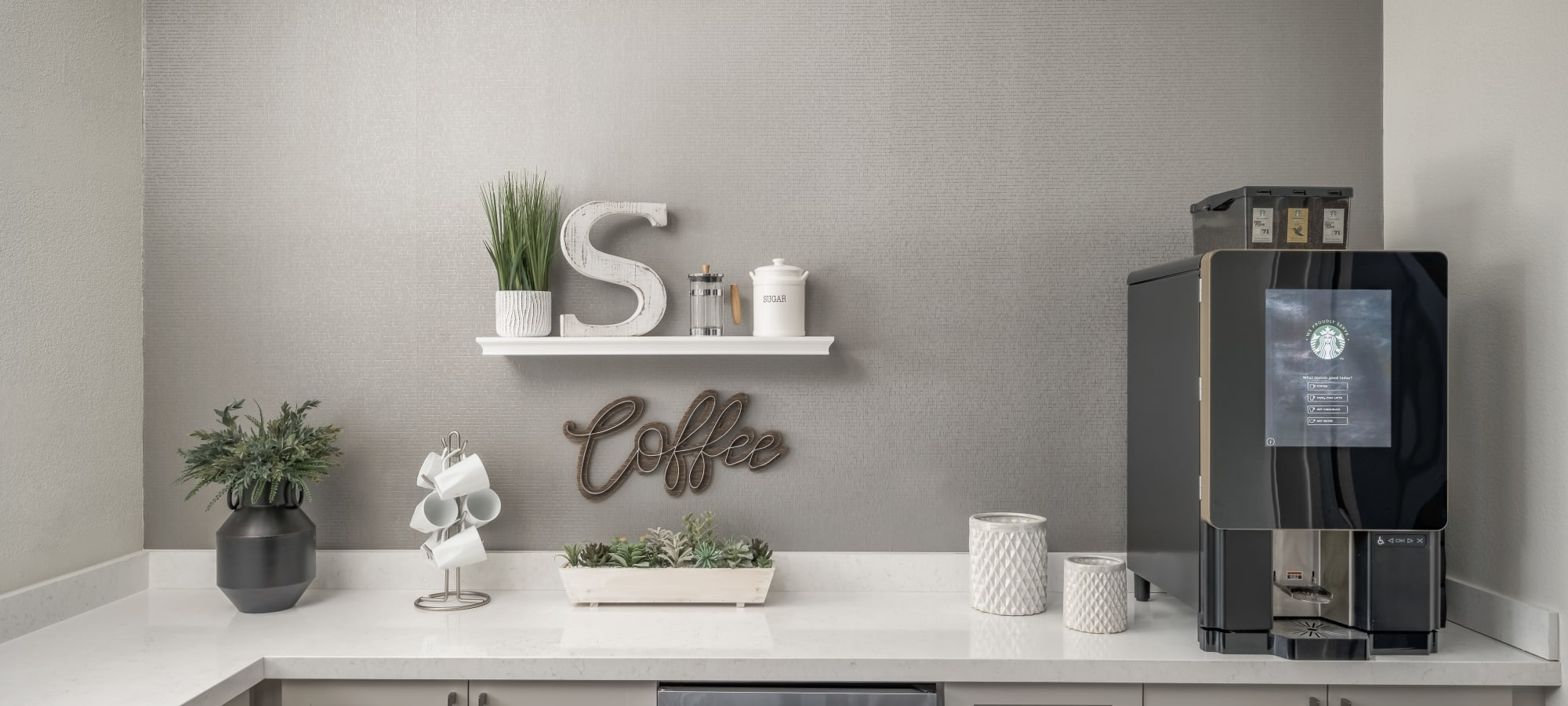 Coffee station at The Sterling in Gilbert, Arizona