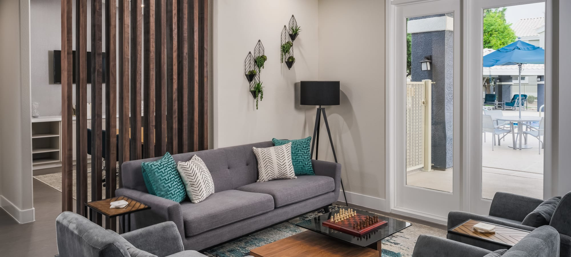 Cozy living room at The Sterling in Gilbert, Arizona