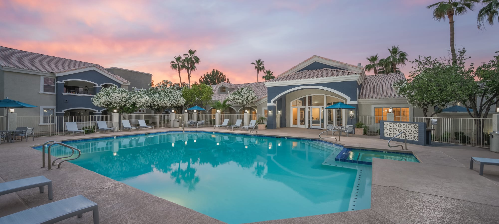 Pool at dusk at The Sterling in Gilbert, Arizona