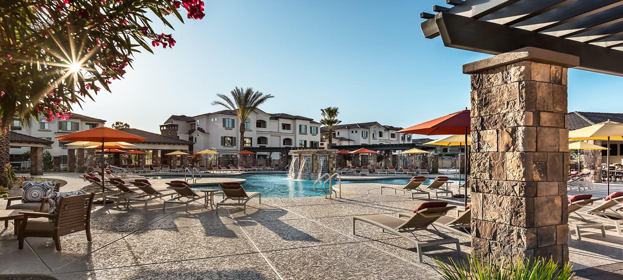 Relaxing poolside lounge at San Artes in Scottsdale, Arizona