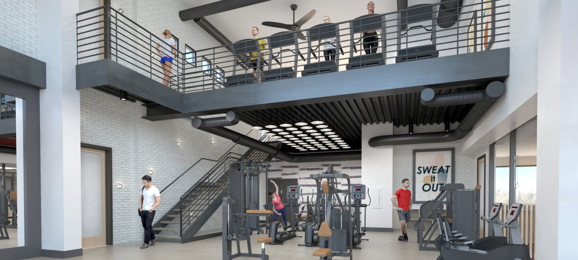 Rendering of fitness center at ArLo in Phoenix, Arizona