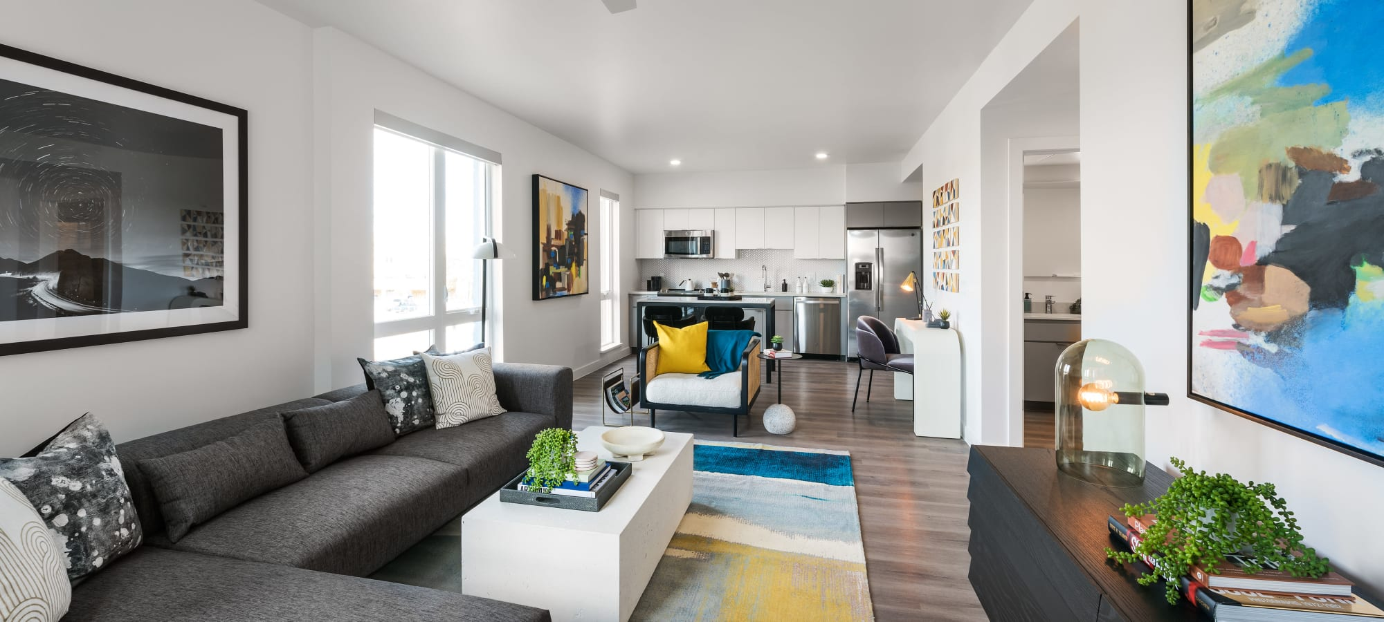 View from Living Room to Kitchen at Hudson on Farmer in Tempe, Arizona