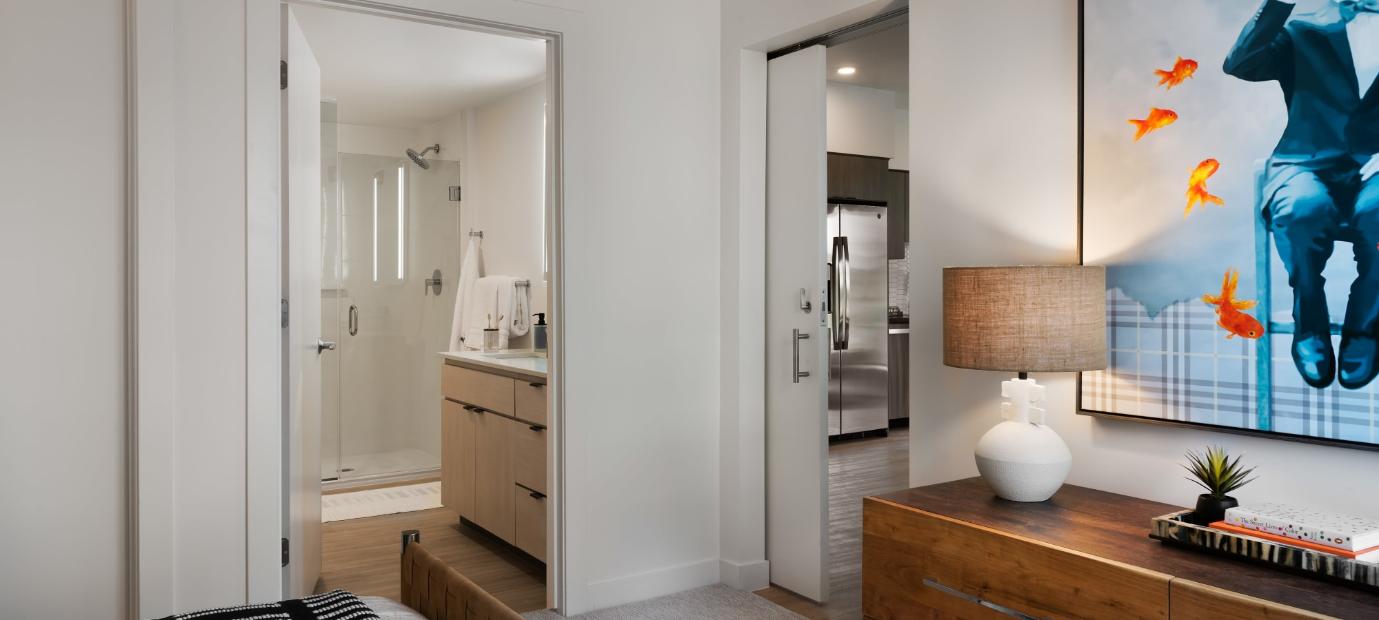 View of entrance to bedroom and bathroom at Hudson on Farmer in Tempe, Arizona