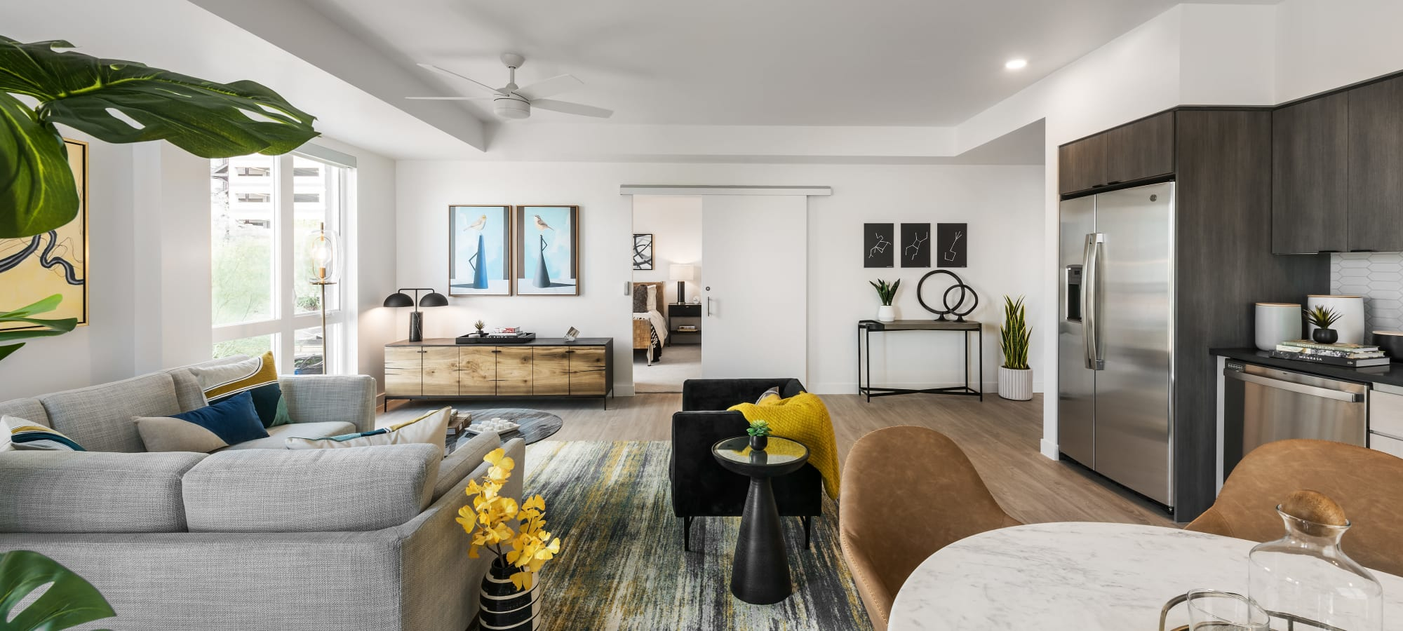 View from Living Room to Bedroom entrance at Hudson on Farmer in Tempe, Arizona