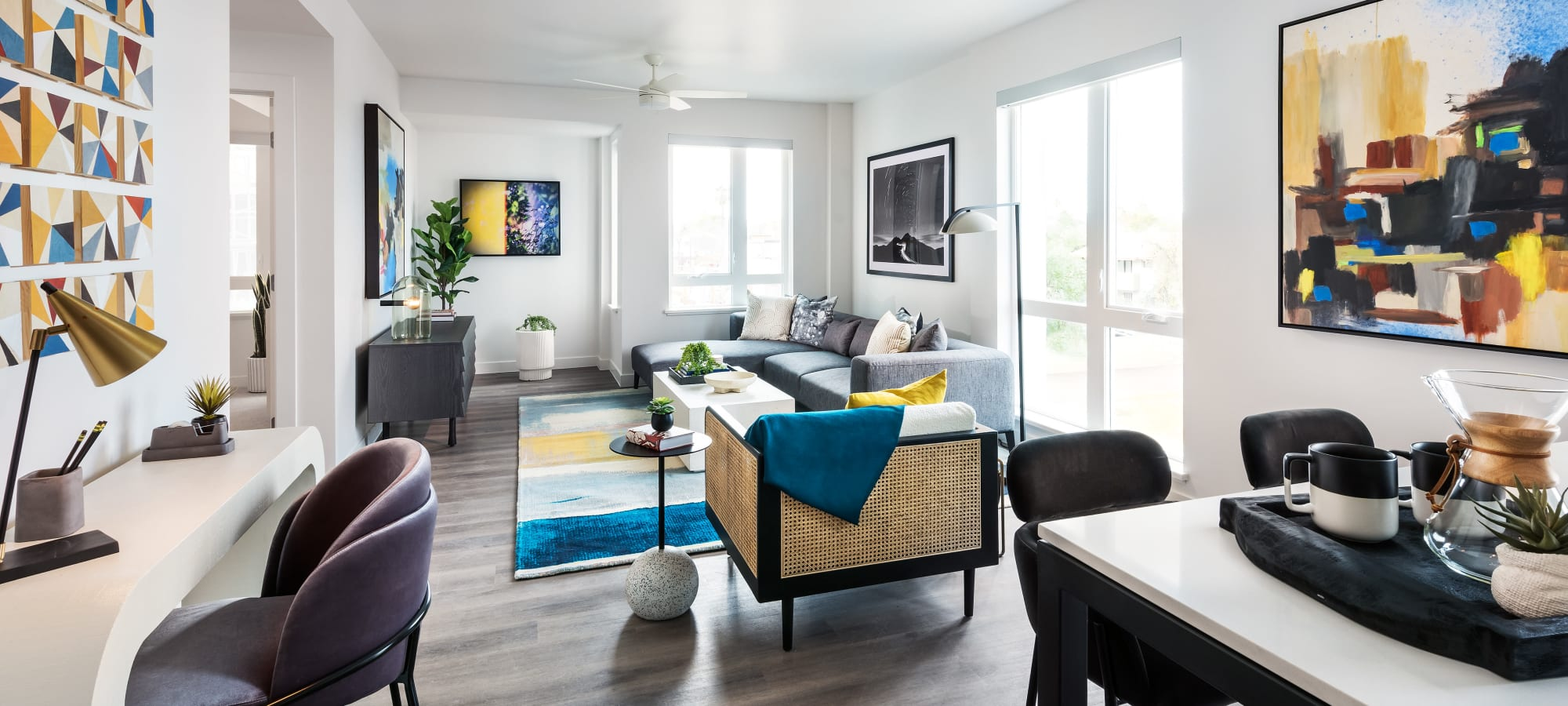View of Living Room from Entry Hall at Hudson on Farmer in Tempe, Arizona
