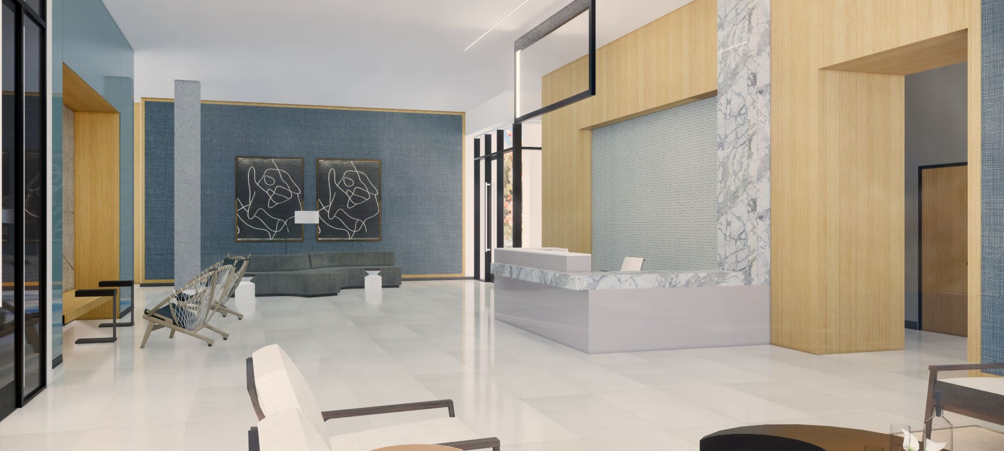 Rendering of lobby lounge area at The Piedmont in Tempe, Arizona