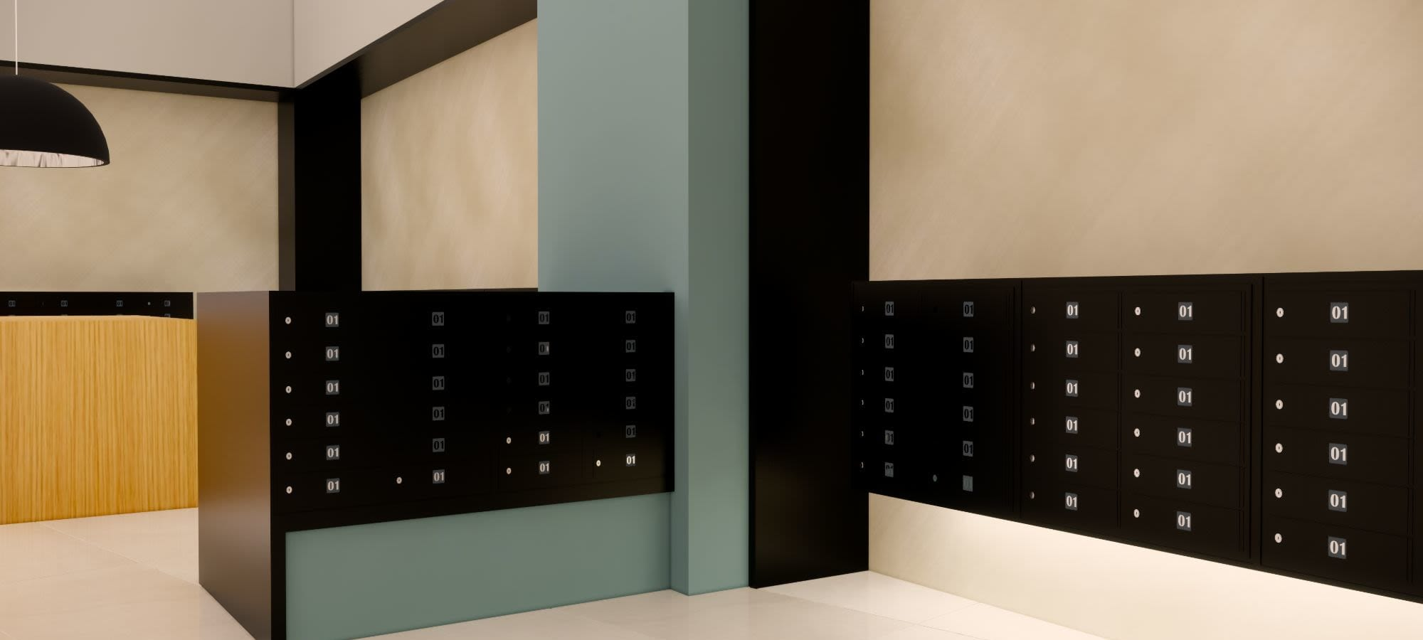 Rendering of secure mail area at The Piedmont in Tempe, Arizona