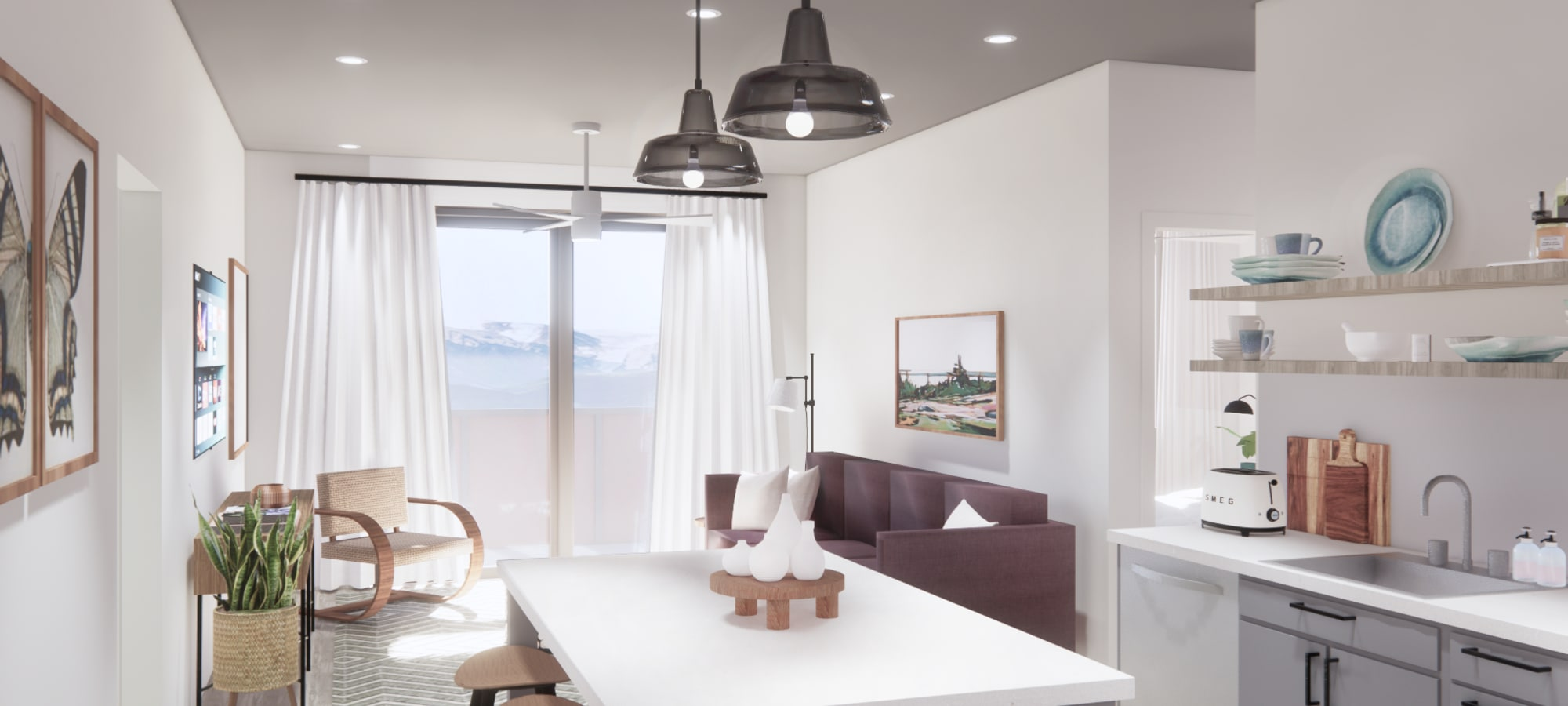Rendering of kitchen at The Piedmont in Tempe, Arizona