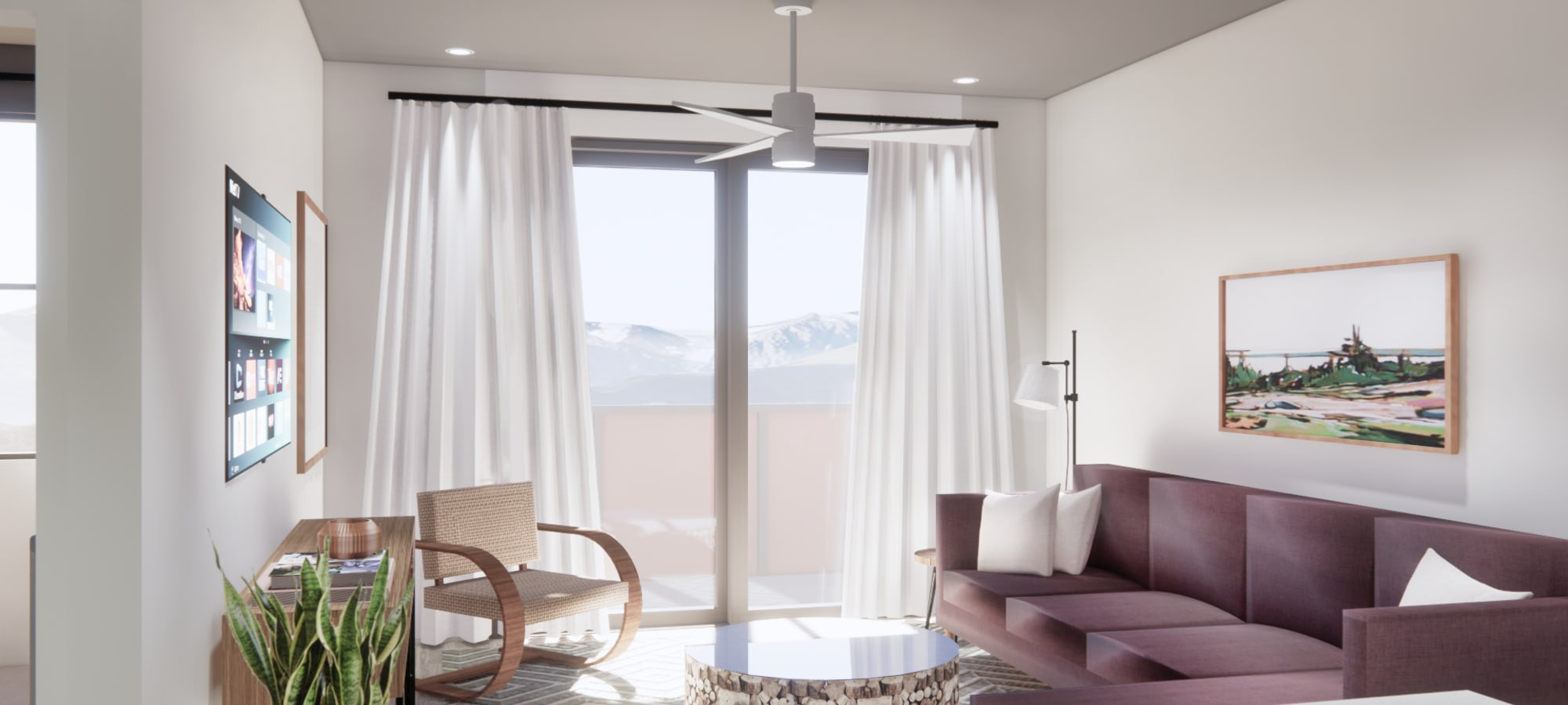 Rendering of open living room with tons of natural light at The Piedmont in Tempe, Arizona