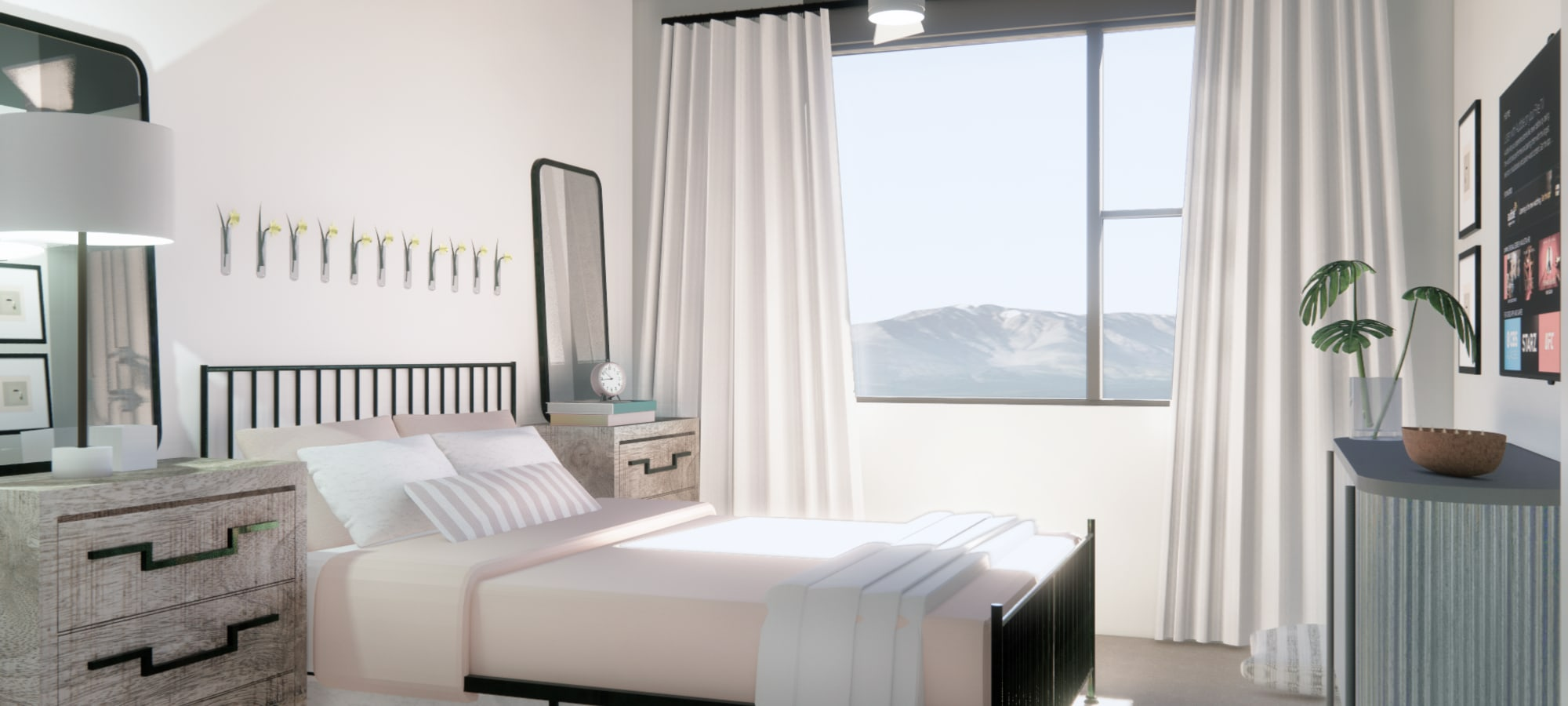 Second bedroom rendering at The Piedmont in Tempe, Arizona
