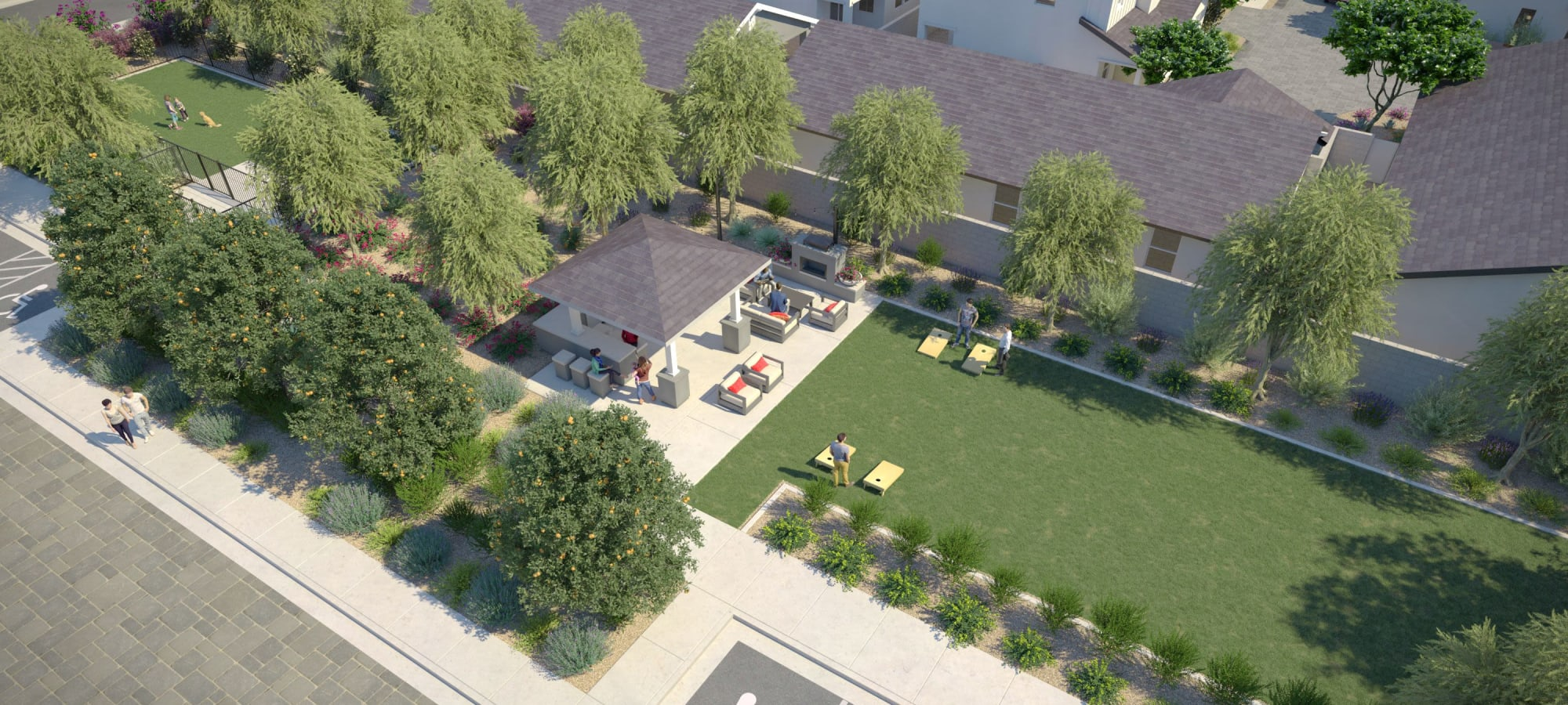 Resident amenities and dog park rendering at Cyrene at South Mountain in Phoenix, Arizona
