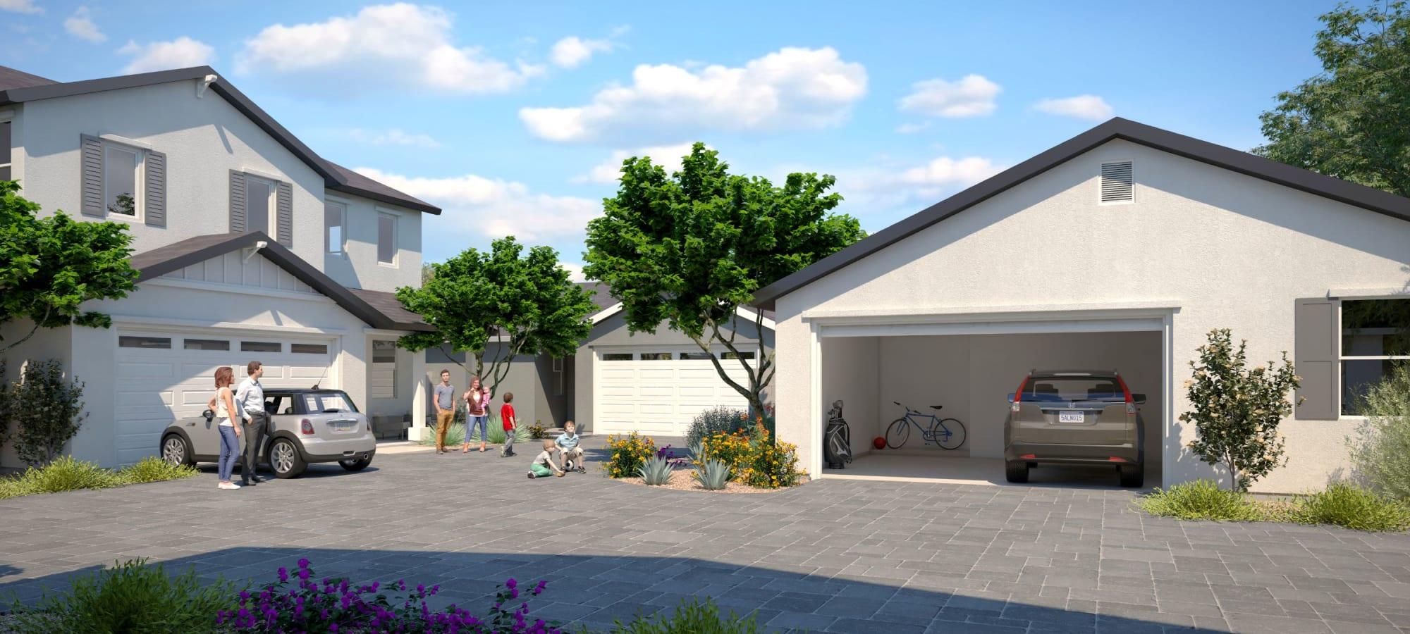 Driveways and garages at Cyrene at Estrella in Goodyear, Arizona