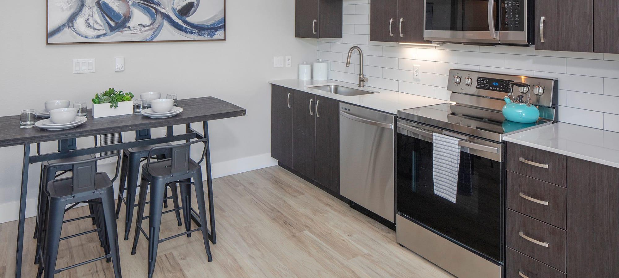 Model kitchen in Gresham, Oregon at Brookside Apartments