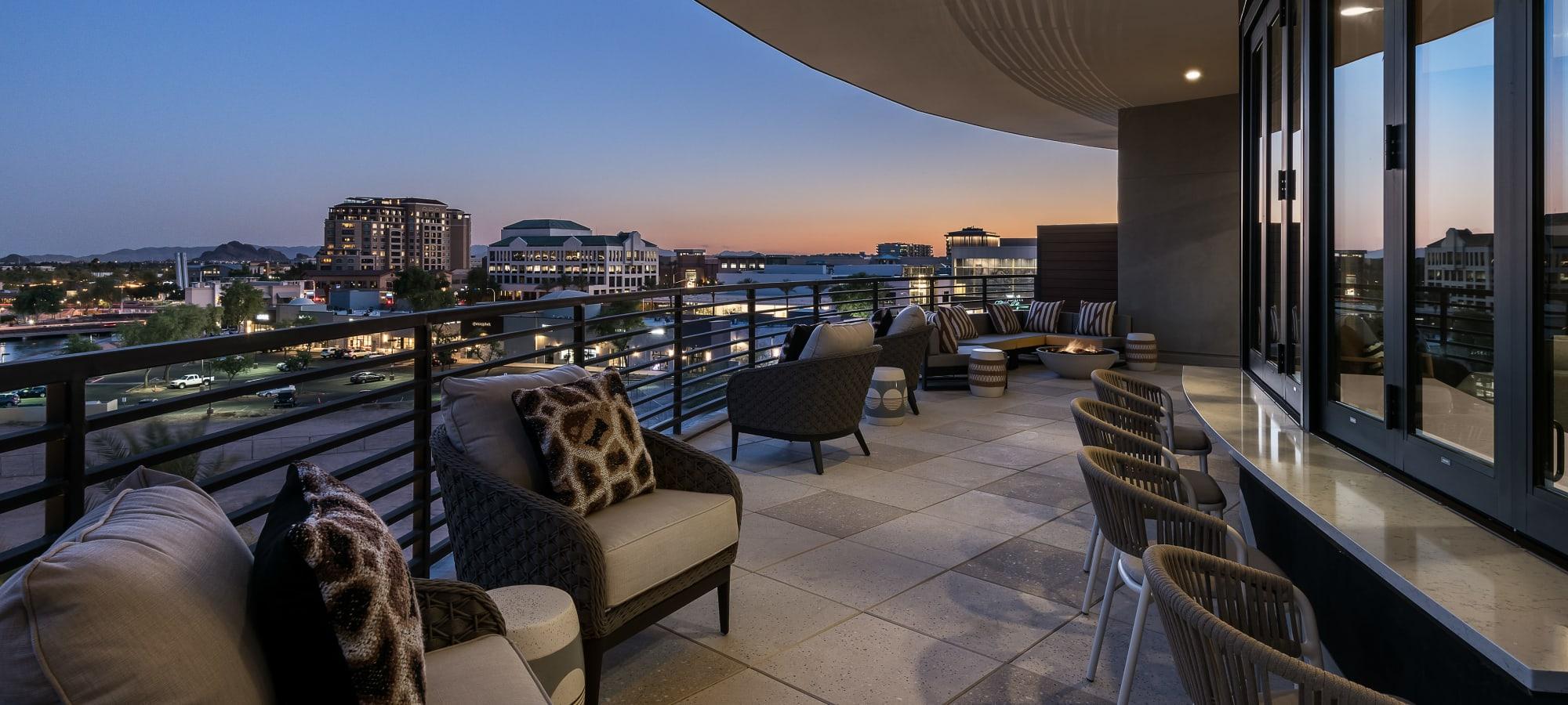 Sky lounge area overlooking Scottsdale at Gramercy Scottsdale in Scottsdale, Arizona