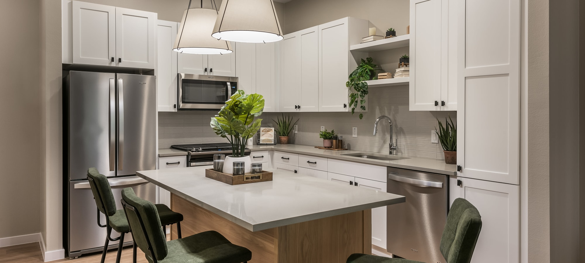 Luxurious kitchen with stainless steel appliances at Gramercy Scottsdale in Scottsdale, Arizona