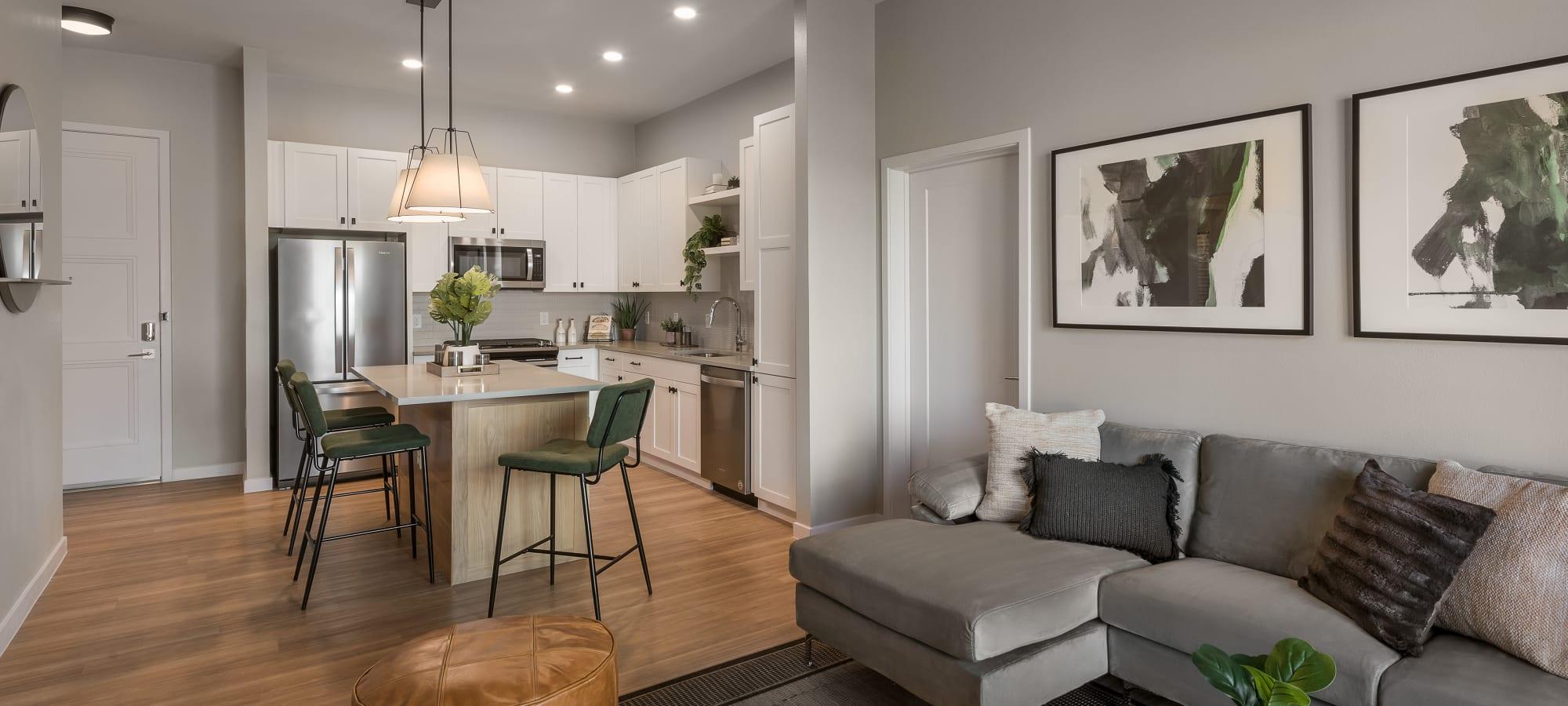 Modern interior and kitchen at Gramercy Scottsdale in Scottsdale, Arizona