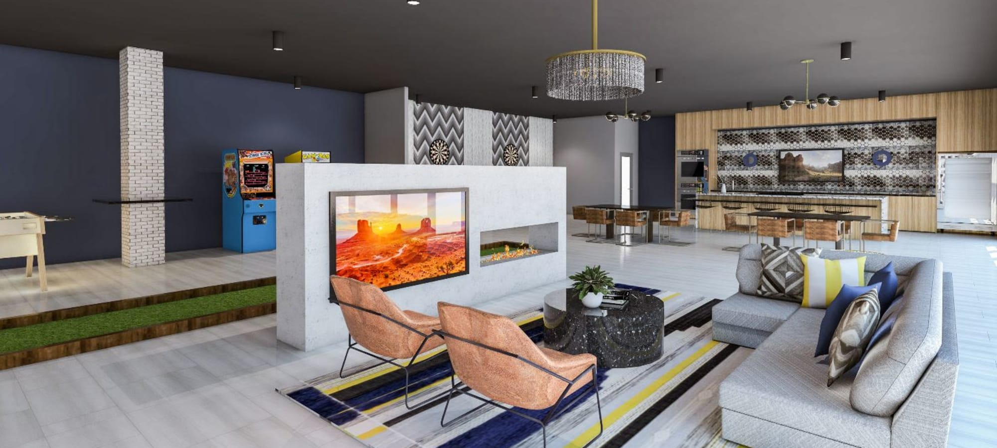 Clubhouse area with fireplace and TV at Tempe Metro in Tempe, Arizona
