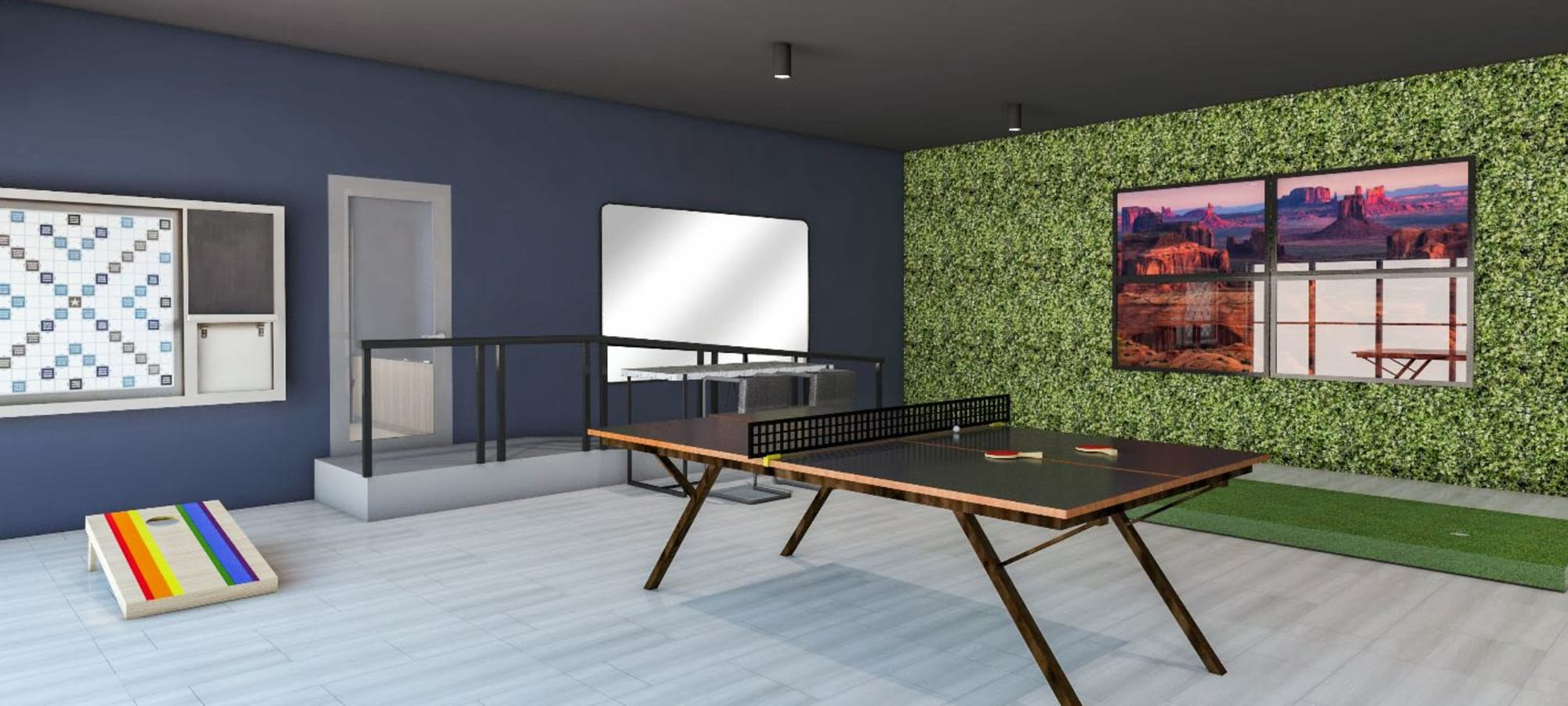 Game room complete with table tennis and cornhole at Tempe Metro in Tempe, Arizona