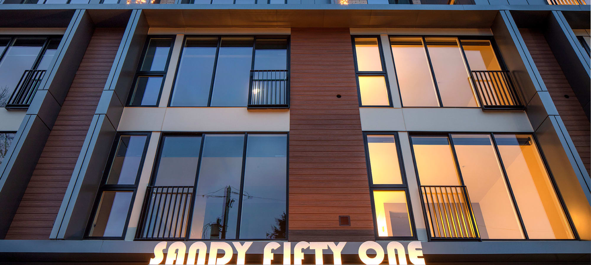 Exterior if building at Sandy Fifty One in Portland, Oregon