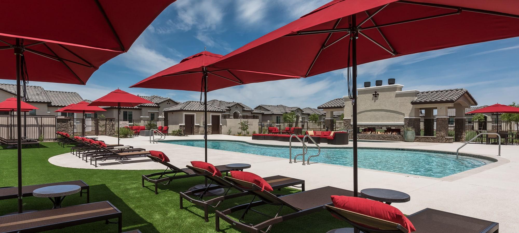 Resort style pool at TerraLane at Canyon Trails in Goodyear, Arizona