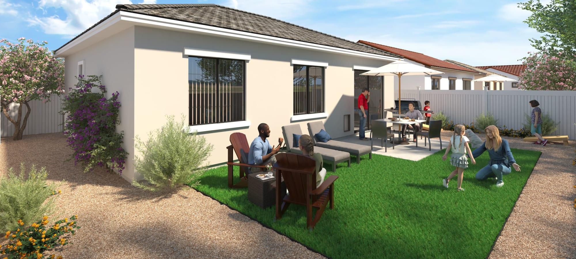 Backyard view at Tavalo at Cadence in Mesa, Arizona