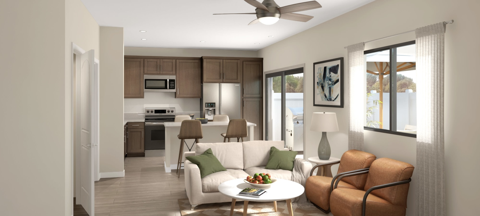 View of the living & kitchen at Tavalo at Cadence in Mesa, Arizona