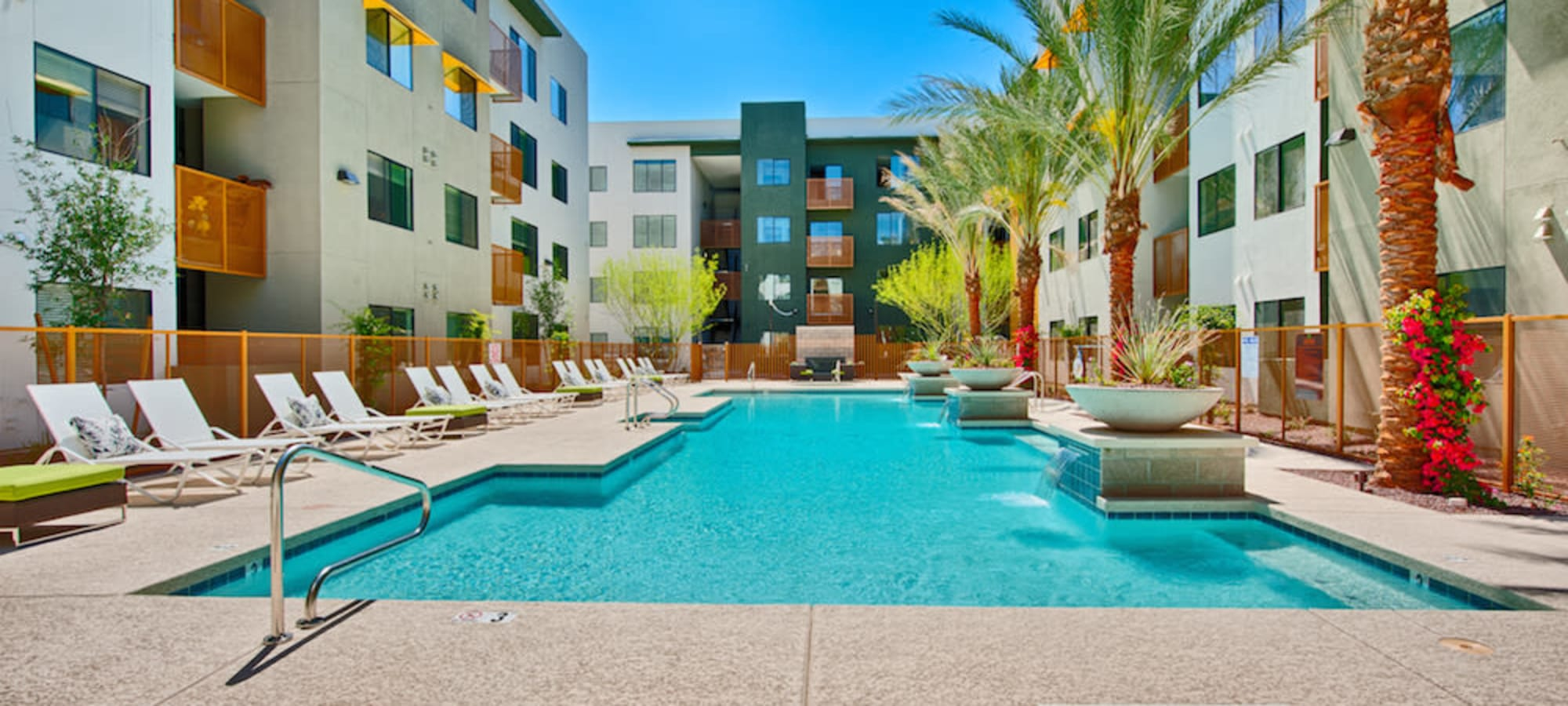 Swimming pool with lounge chairs at Cactus Forty-2 in Phoenix, Arizona