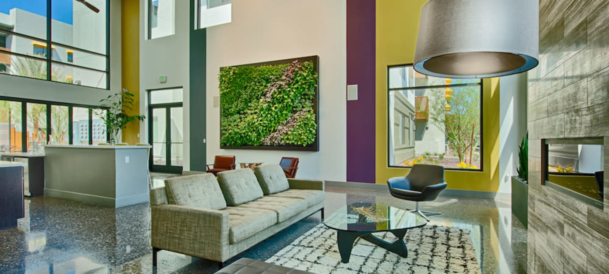 Lobby interior at Cactus Forty-2 in Phoenix, Arizona