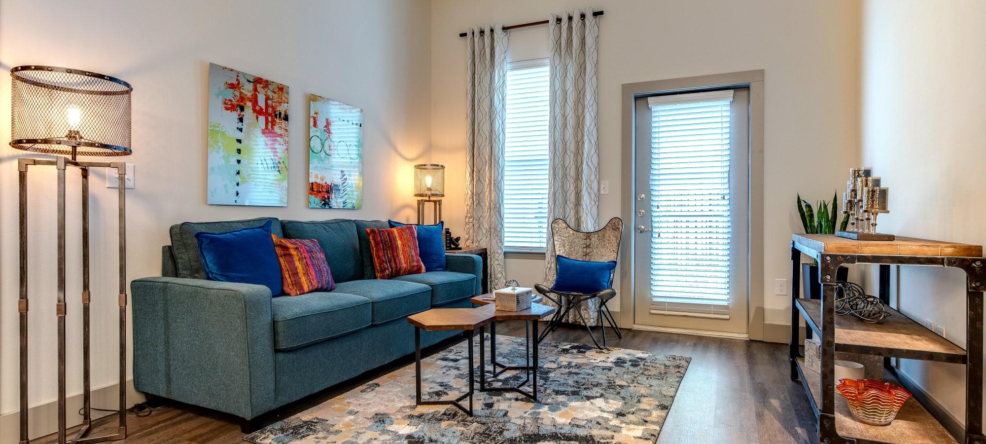 Bright open living room at Bellrock Upper North in Haltom City, Texas