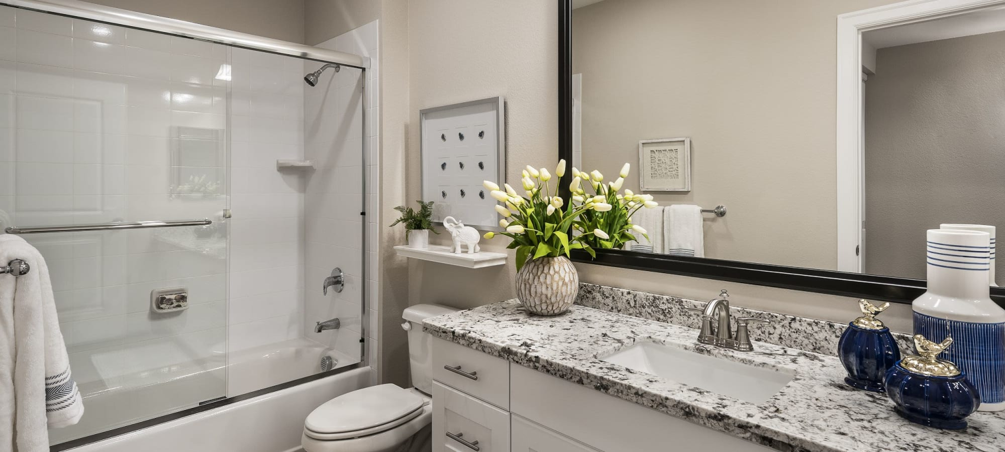 Bathroom with granite style counters at San Artes in Scottsdale, Arizona