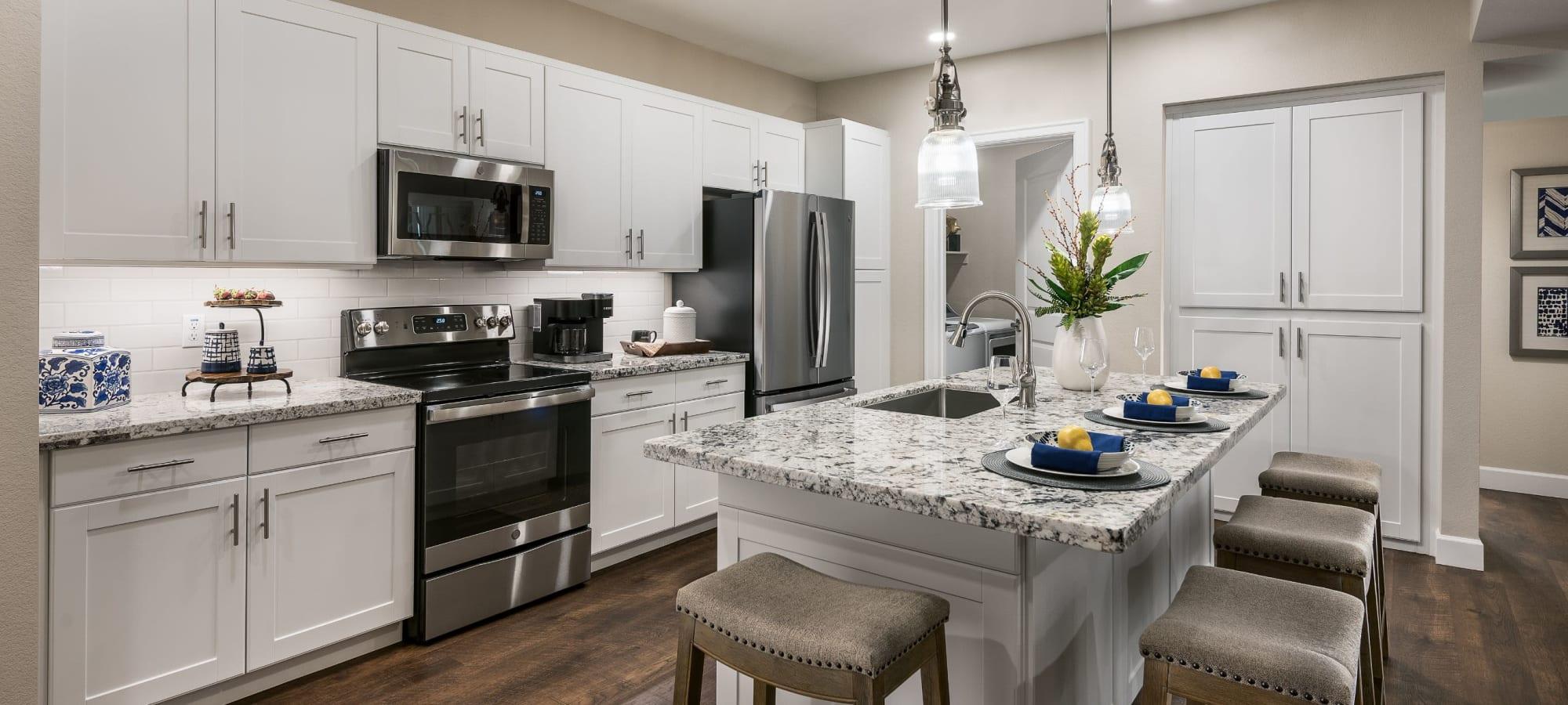 Modern kitchen with an island at San Artes in Scottsdale, Arizona