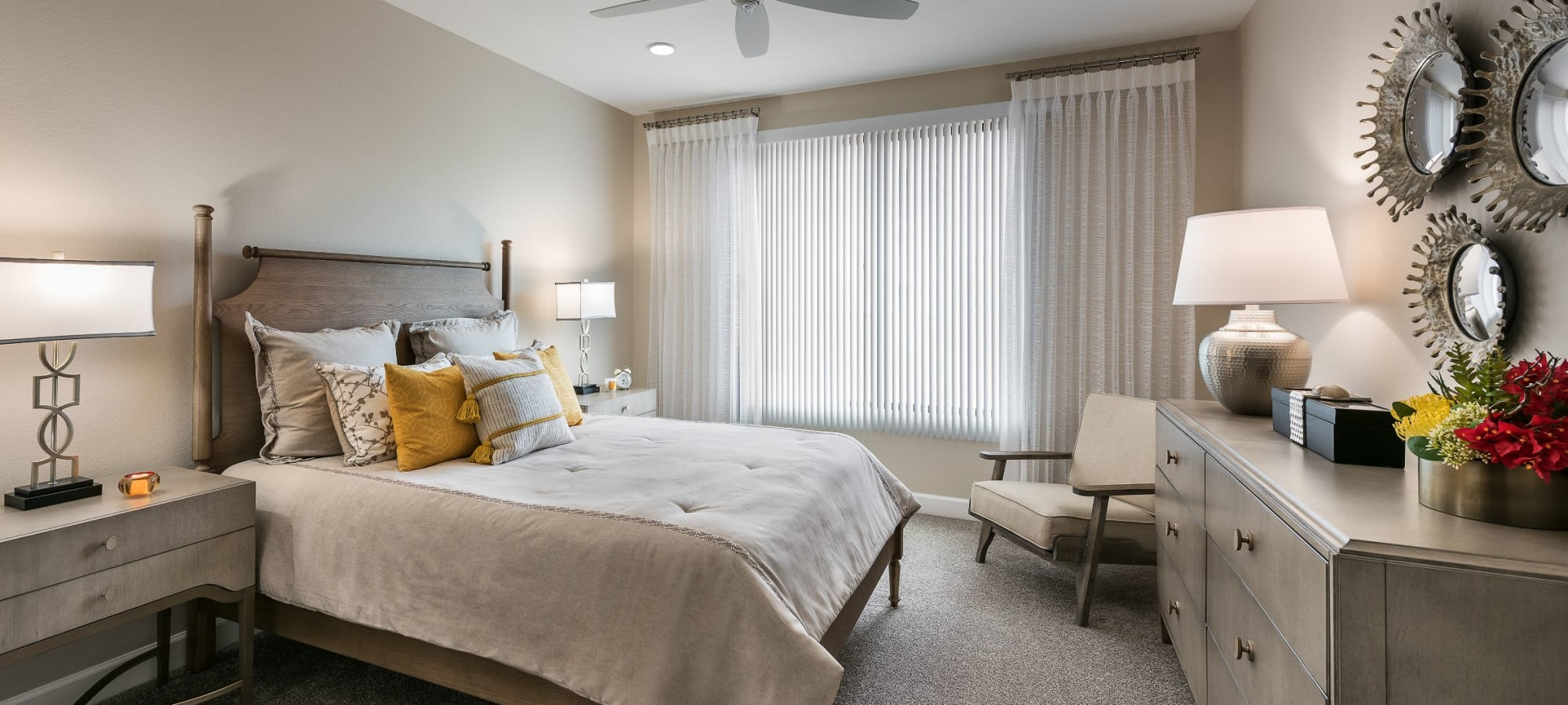 Bedroom with a large window at San Artes in Scottsdale, Arizona
