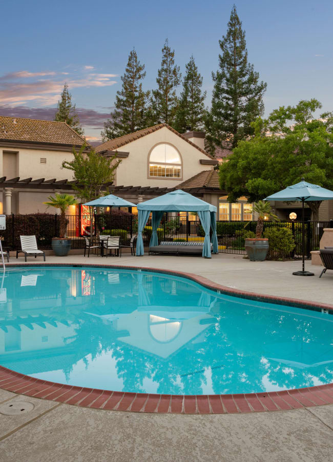 Resort-style swimming with a large sundeck at Shaliko in Rocklin, California