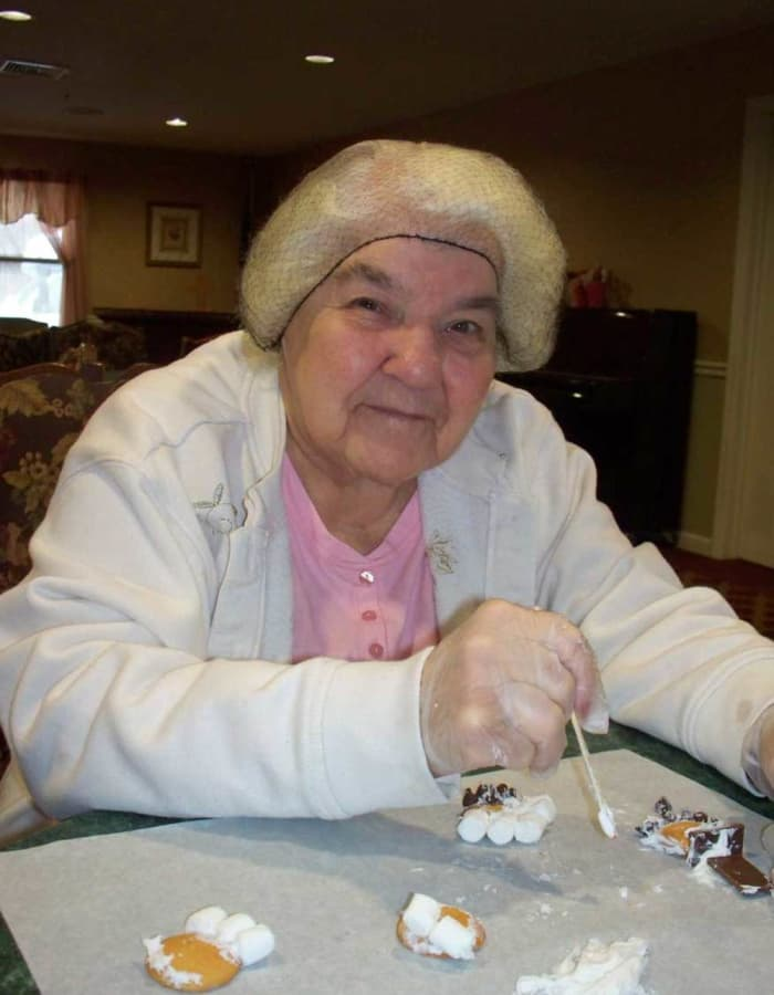 Resident trying to make smores at Heritage Hill Senior Community in Weatherly, Pennsylvania