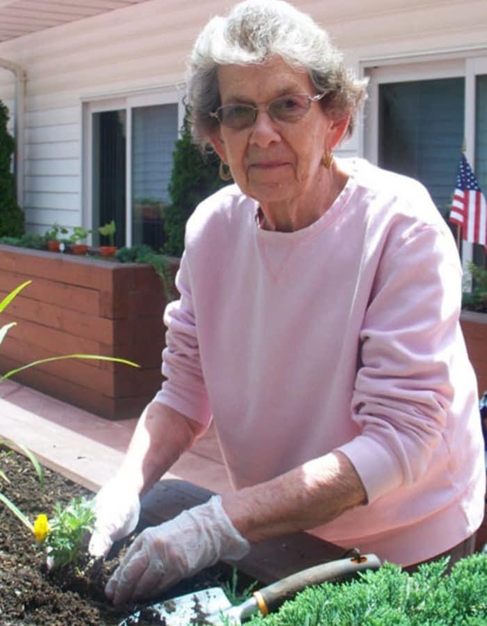 Resident gardening at Heritage Hill Senior Community in Weatherly, Pennsylvania