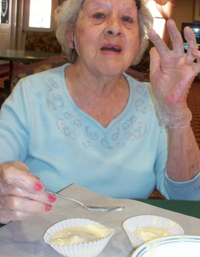 Resident making pudding at Heritage Hill Senior Community in Weatherly, Pennsylvania