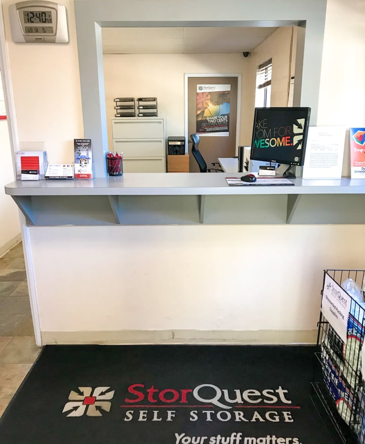 The exterior of the main entrance at StorQuest Self Storage in Westlake Village, California