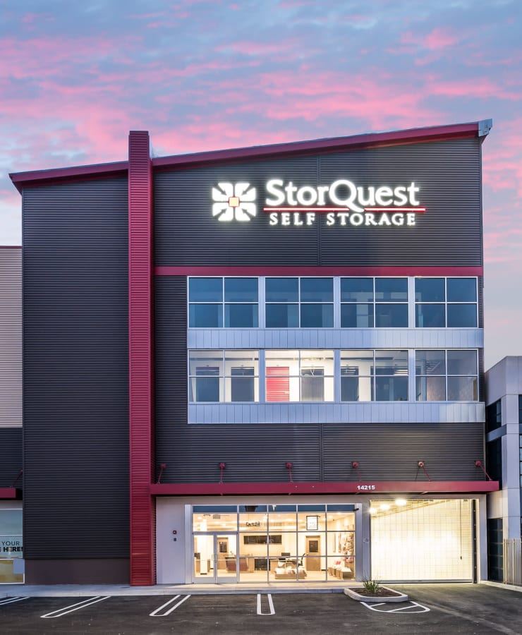 The exterior of the main entrance at StorQuest Self Storage in Gardena, California