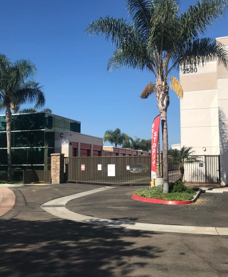 The gated entryway at StorQuest Self Storage in Carlsbad, California
