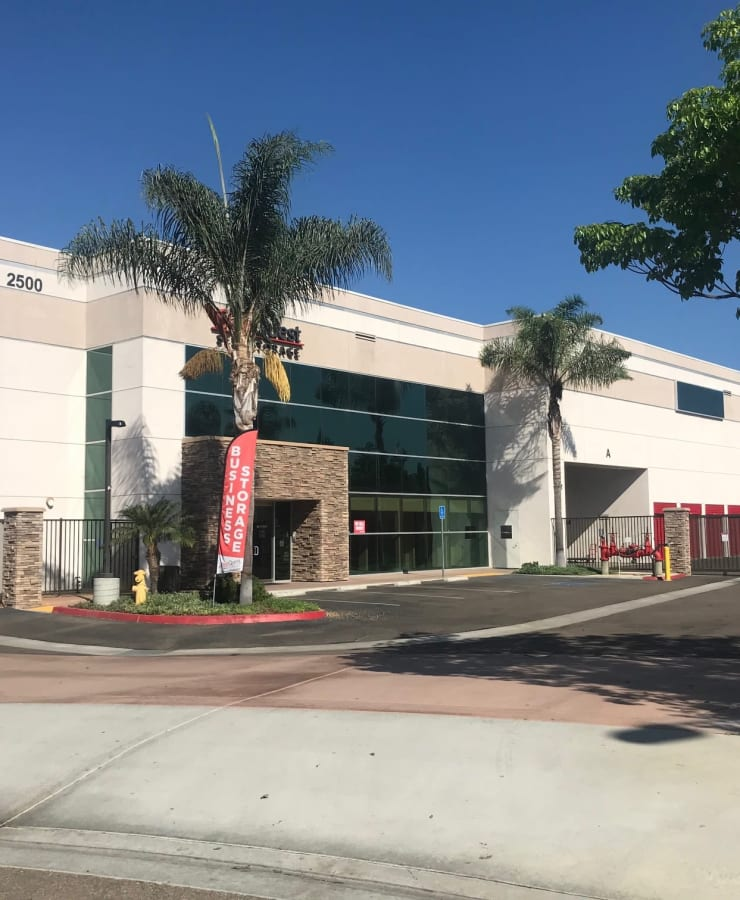 The exterior of the main entrance at StorQuest Self Storage in Carlsbad, California