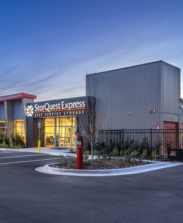 The exterior of the main entrance at StorQuest Express - Self Service Storage in Deltona, Florida