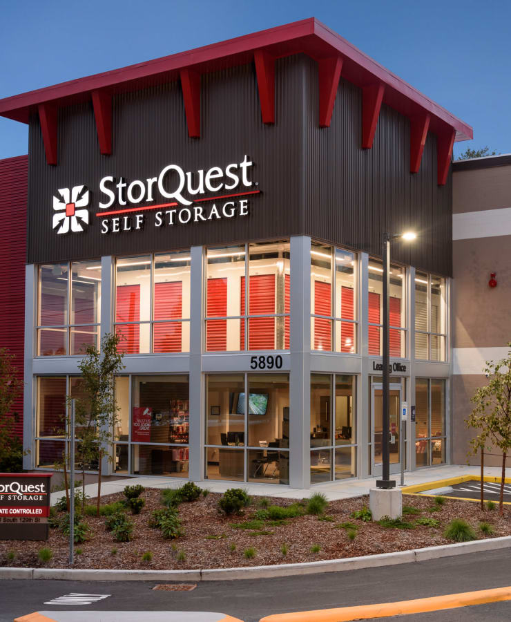 Exterior of the entrance at dusk at StorQuest Self Storage in Seattle, Washington
