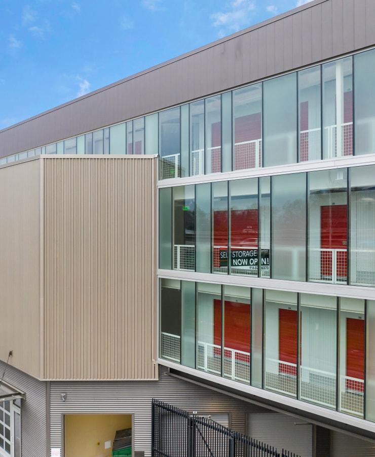 Facade and indoor units at StorQuest Self Storage in Sacramento, California