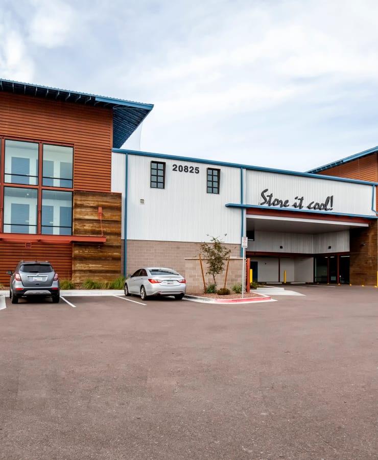 Facade and parking lot at StorQuest Self Storage in Buckeye, Arizona