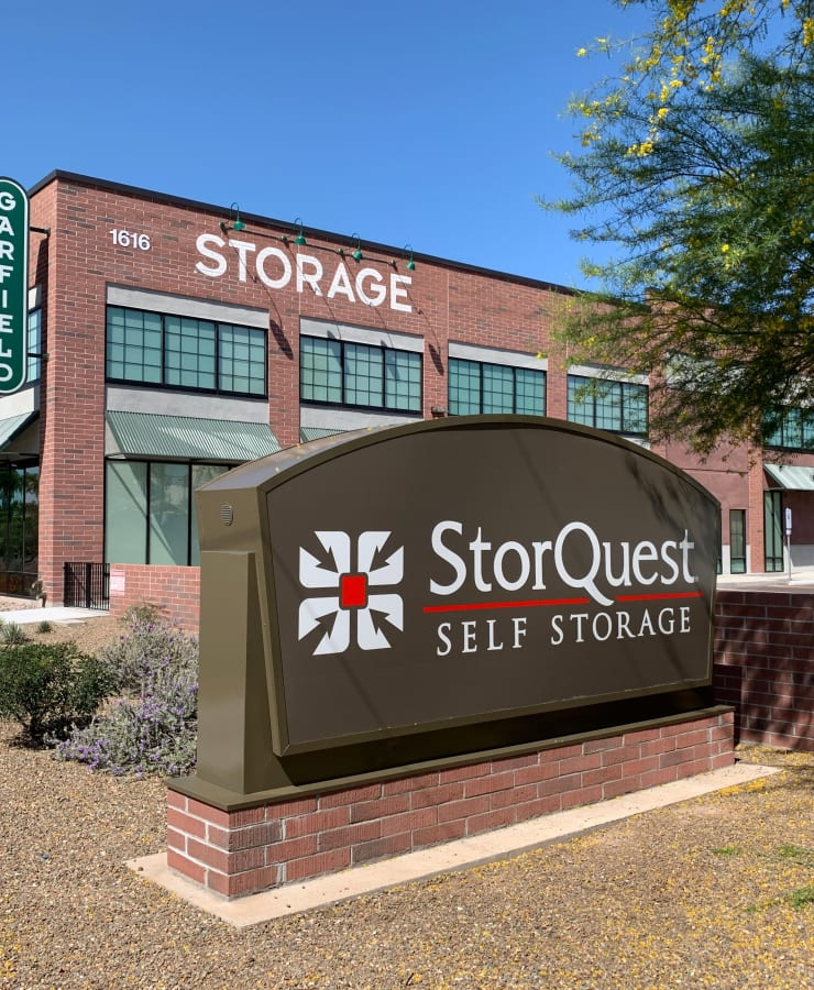 Branding and signage in front of StorQuest Self Storage in Phoenix, Arizona